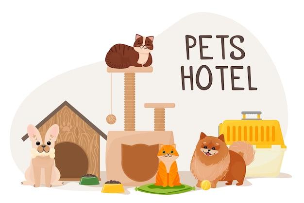 Chats sur le canapé et chiens près du transporteur et de la maison nourriture et divertissement pour animaux illustration vectorielle isolée sur fond blanc illustration vectorielle