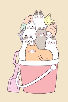 Chats et chats d'été mignons