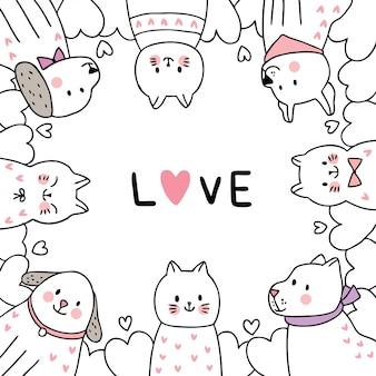 Chats et chiens et coeurs