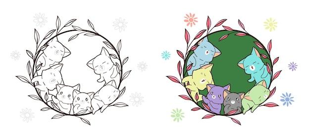 Chats colorés dans la page de coloriage de dessin animé de vigne pour les enfants