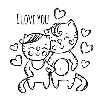 Chats couple amoureux. dessin animé animaux monochrome clipart dessiné à la main