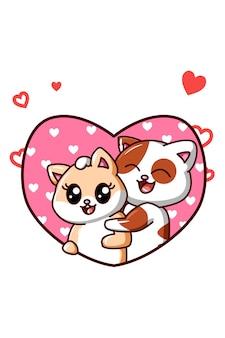 Les chats de couple kawaii tombent amoureux dans l'illustration de dessin animé de valentine