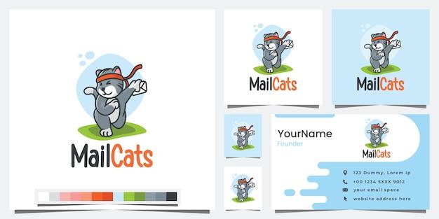 Chats de courrier, version de dessin animé, inspiration de conception de logo