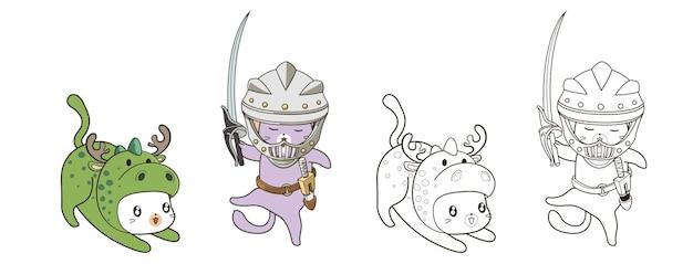 Chats dans la page de coloriage de dessin animé de costume de style médiéval