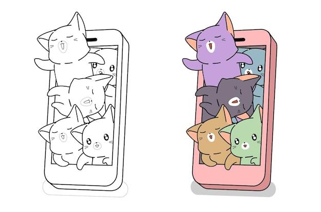 Chats dans la page de coloriage de dessin animé de smartphone