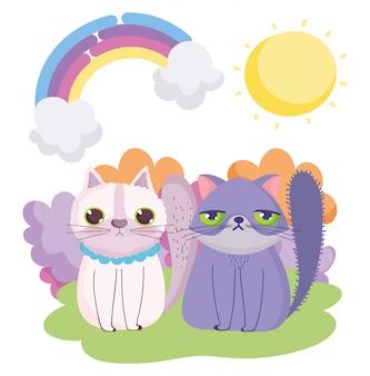 Chats de dessin animé assis dans les animaux de compagnie ciel herbe