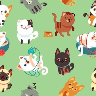 Chats de dessin animé chaton vectoriel fond transparent