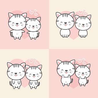 Chats de dessin animé de couple mignon tombent amoureux.