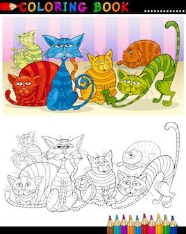 Chats de dessin animé pour coloring book ou page