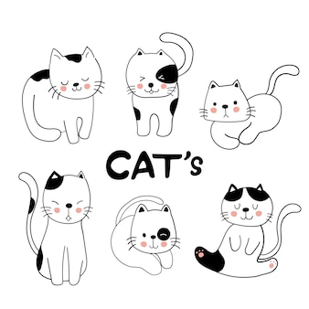 Chats dessinés à la main doodle style de dessin animé vecteur premium