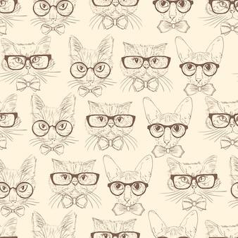 Chats dessinés à la main de modèle sans couture avec accessoires hipster