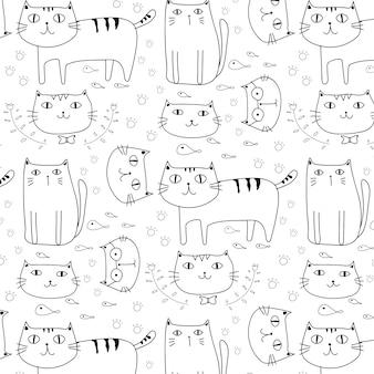 Chats dessinés à la main vecteur de fond. doodle drôle.