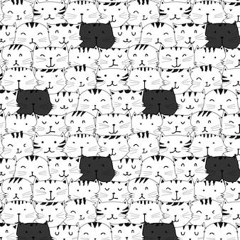 Chats dessinés à la main vecteur de fond.