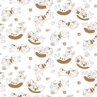 Chats drôles et café tasse sans soudure de fond