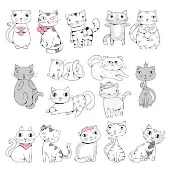 Chats drôles. doodle animaux de compagnie personnages dessinés à la main illustrations d'animaux de bande dessinée