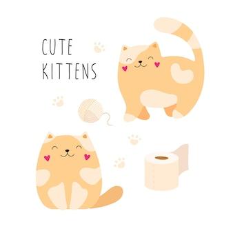 Chats drôles de gingembre de dessin animé de chatons
