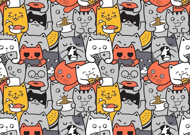 Chats drôles mangeant le fond de griffonnage de modèle