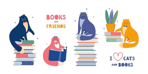 Les chats drôles sont des fans littéraires. cartoon cute pet lire et s'asseoir sur une grande pile de livres