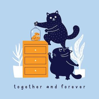 Chats drôles de vecteur volant des biscuits des dessins animés de personnages de griffonnage de table