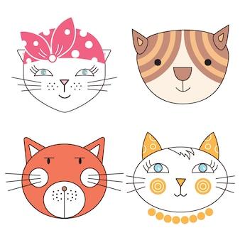 Chats, ensemble de têtes de chats mignons