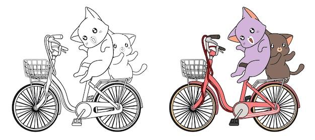 Les chats font du vélo à la page de coloriage de dessin animé