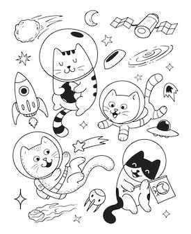 Chats heureux dans l'espace doodle