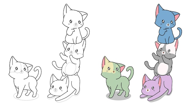 Chats jouant ensemble, dessin animé, coloration, page