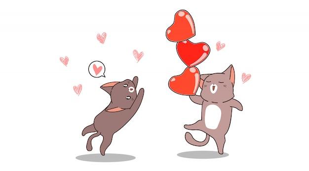 Les chats kawaii de bannière jouent 3 coeurs
