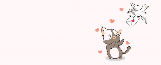 Les chats kawaii de bannière recherchent l'oiseau qui tient la lettre d'amour