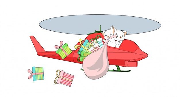 Les chats kawaii conduisent un hélicoptère avec un sac cadeau