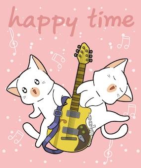 Les chats kawaii et la guitare