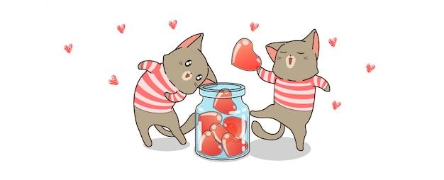 Les chats kawaii sauvent des cœurs pour la saint valentin