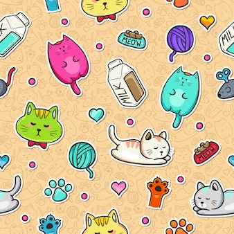 Chats et lait doodle motif transparent coloré