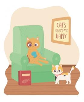 Les chats me rendent heureux, joli chat jouant à la balle de laine dans le canapé