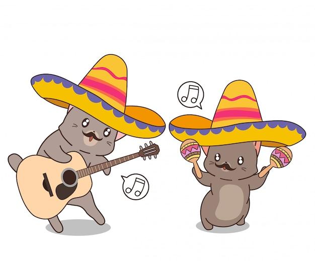 Les chats mexicains kawaii jouent d'un instrument de musique