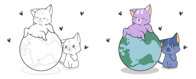 Les chats mignons aiment la page de coloriage de dessin animé du monde pour les enfants