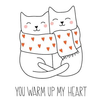 Chats mignons amoureux du lettrage vous réchauffez mon coeur style de dessin animé doodle animaux adorables