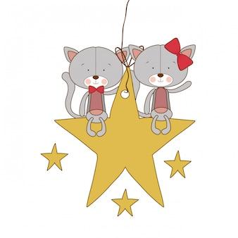 Chats mignons assis sur l'étoile