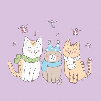 Les chats mignons de bande dessinée chantent un vecteur de chanson.