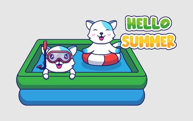 Chats mignons avec bannière de voeux d'été bonjour