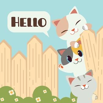 Chats mignons sur une clôture en disant bonjour illustration