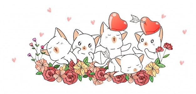 Chats mignons et coeurs sur fleurs
