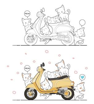Chats mignons et coloriage de dessin animé de moto pour les enfants