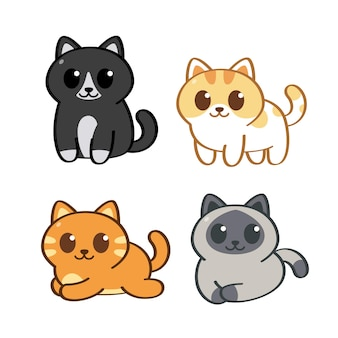 Les chats mignons dans le style d'art de la ligne doodle s'assoient debout et s'allongent sur le fond blanc