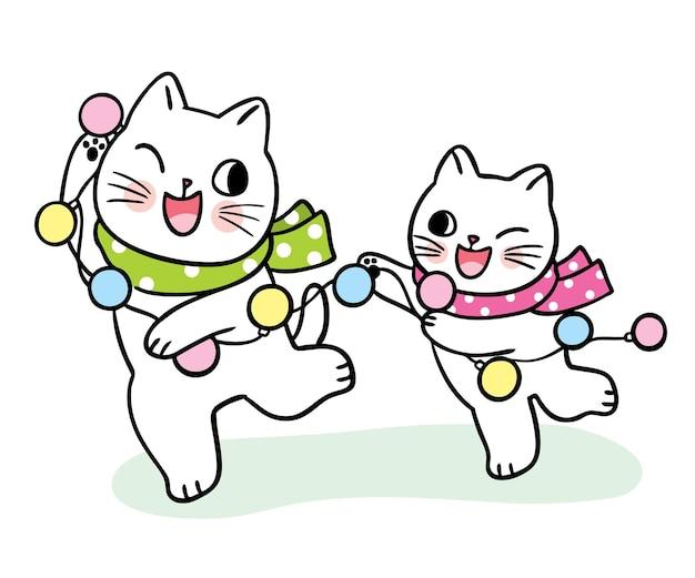 Chats mignons de dessin animé jouant dans le vecteur de jour de noël