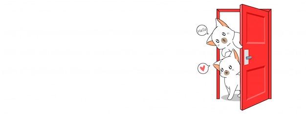 Chats mignons disent bonjour illustration