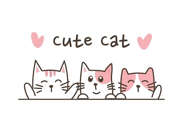 Chats mignons doodle dessinés à la main