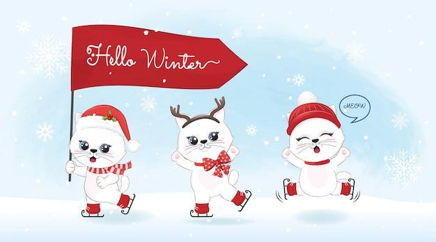 Chats mignons et drapeau rouge sur fond d'hiver hiver et illustration de noël.