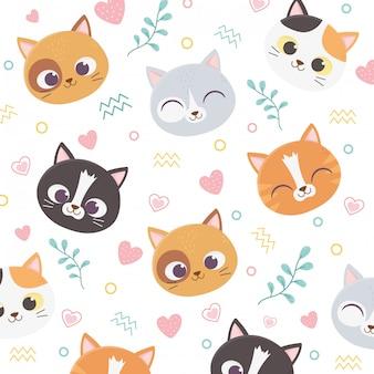 Les chats mignons font face aux coeurs aiment le feuillage illustration de fond de dessin animé