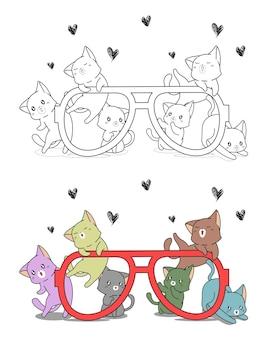 Chats mignons et gros verres coloriage de dessin animé pour les enfants